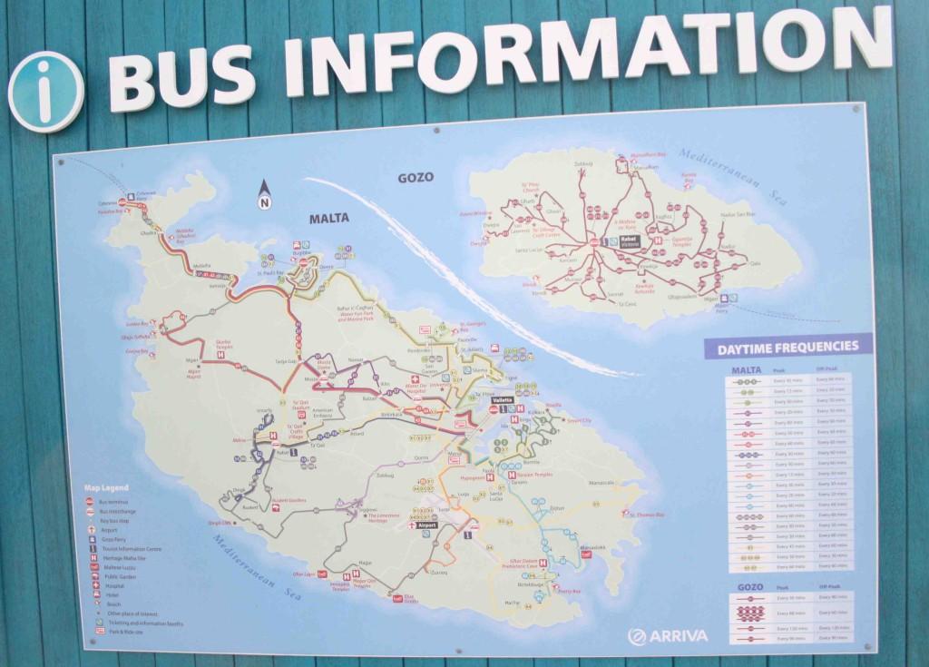 Rutas de los autobuses en Malta y Gozo. Amplie la foto pinchando en ella. Foto de Aitor Pedrueza.