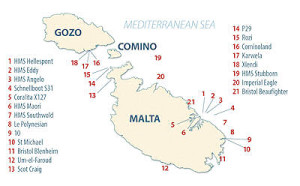 Localización de los barcos hundidos en Malta y Gozo.